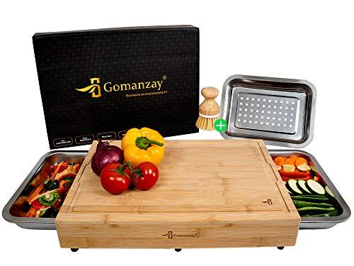 GOMANZAY®   Premium Schneidebrett mit 2...