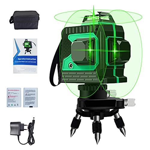 Kreuzlinienlaser Grün 3D 12 Laserlinie 3x360...
