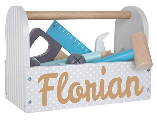 Elefantasie Werkzeugkoffer aus Holz mit Namen...