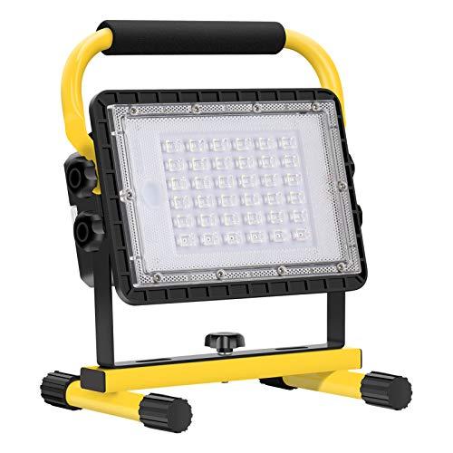 Baustrahler LED Akku, 60W 6000 Lumen LED...