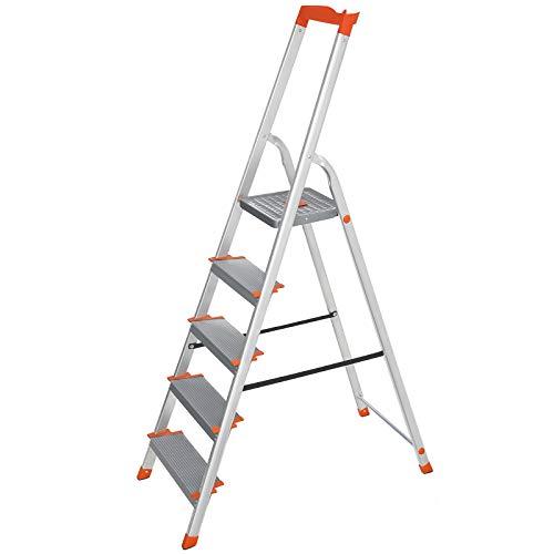 SONGMICS Leiter 5 Stufen, Aluleiter, 12 cm...