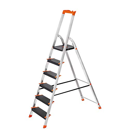 SONGMICS Leiter 6 Stufen, Aluleiter, 12 cm...