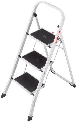 Hailo K20 Stahl-Klapptritt-Leiter | 3 breite...