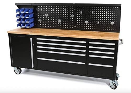 Werkbank mit Schubladen 215 cm Werkzeugwagen,...