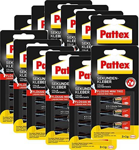 Pattex Sekundenkleber Flüssig, Minitrio 12 x...