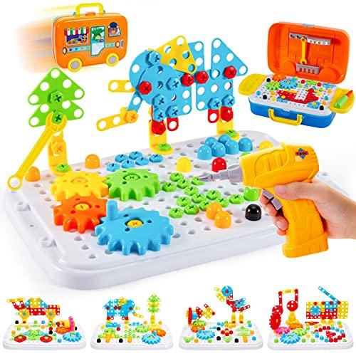 BUYGER 276 Stück Mosaik Spielzeug Steckspiel...