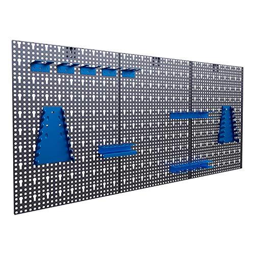 Panorama24 Dreiteilige Werkzeuglochwand Blau...
