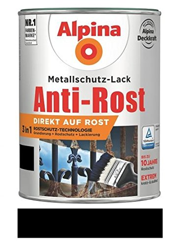Metallschutzlack matt schwarz 0,75l...