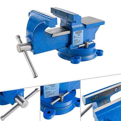 AREBOS Schraubstock 100 mm | 360° drehbar |...