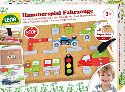 Lena 65826 Hammerspiel Fahrzeuge, Nagelspiel...