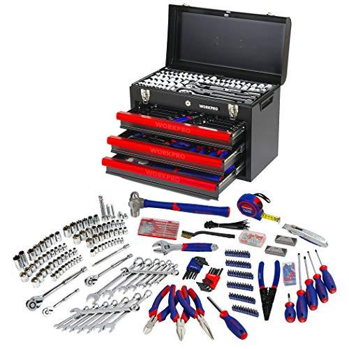 WORKPRO Werkzeugkoffer Mechanik Metall mit 3...