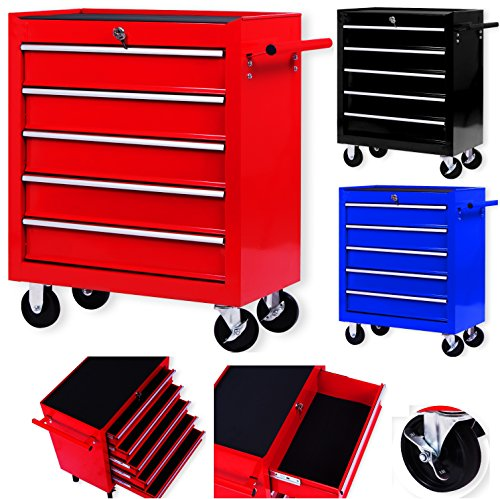 Masko® Werkstattwagen - 5 Schubladen, rot...