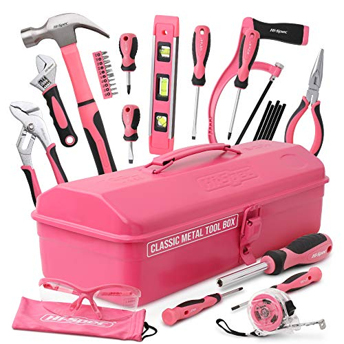Hi-Spec Retro Pink Rosa Werkzeugkiste mit...