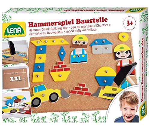Lena 65828 Hammerspiel, Nagelspiel mit 64...